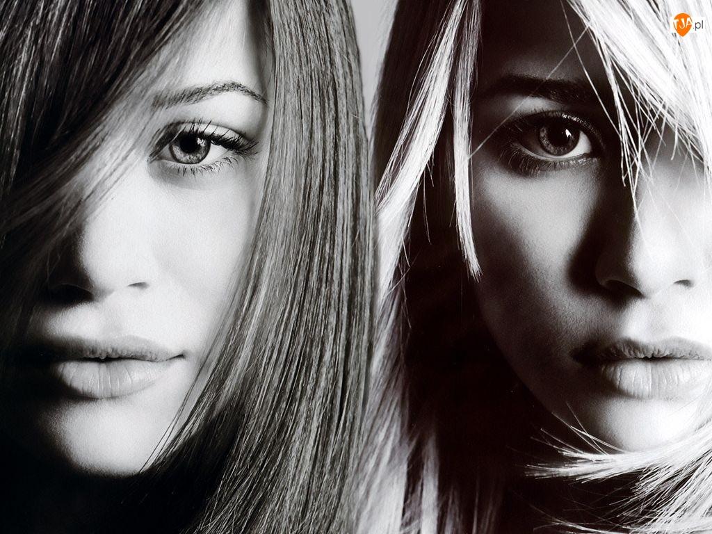 Blizniaczki Olsen, proste włosy
