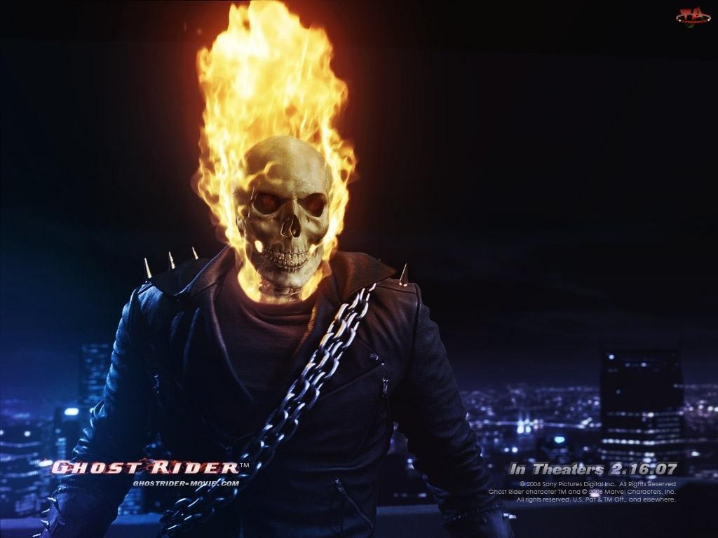 miasto, Ghost Rider, płonie, czaszka, łańcuch