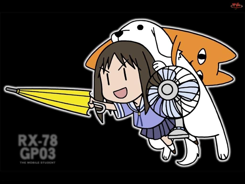 Parasolka, Azumanga Daioh, kot, pies, dziewczyna