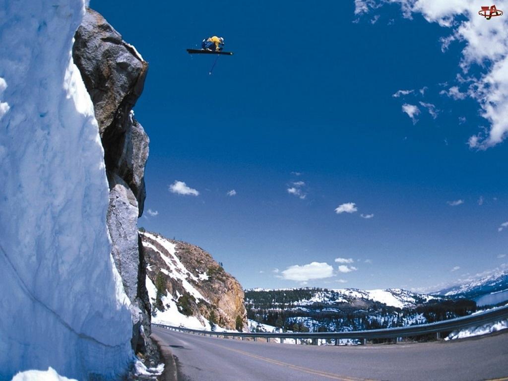 Snowbording, snowboardzista, deska , śnieg