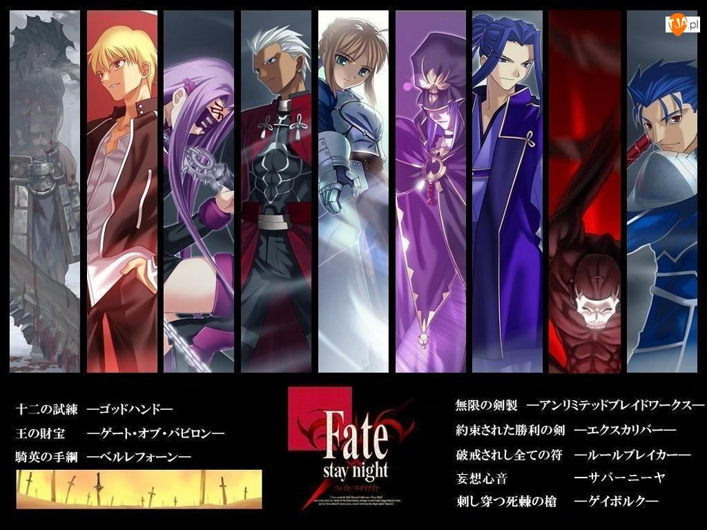 Fate Stay Night, napisy, mężczyźni, plakaty