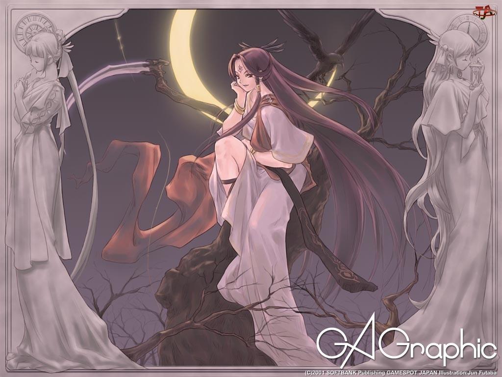 Ga Graphic, księżyc, kobieta, drzewa