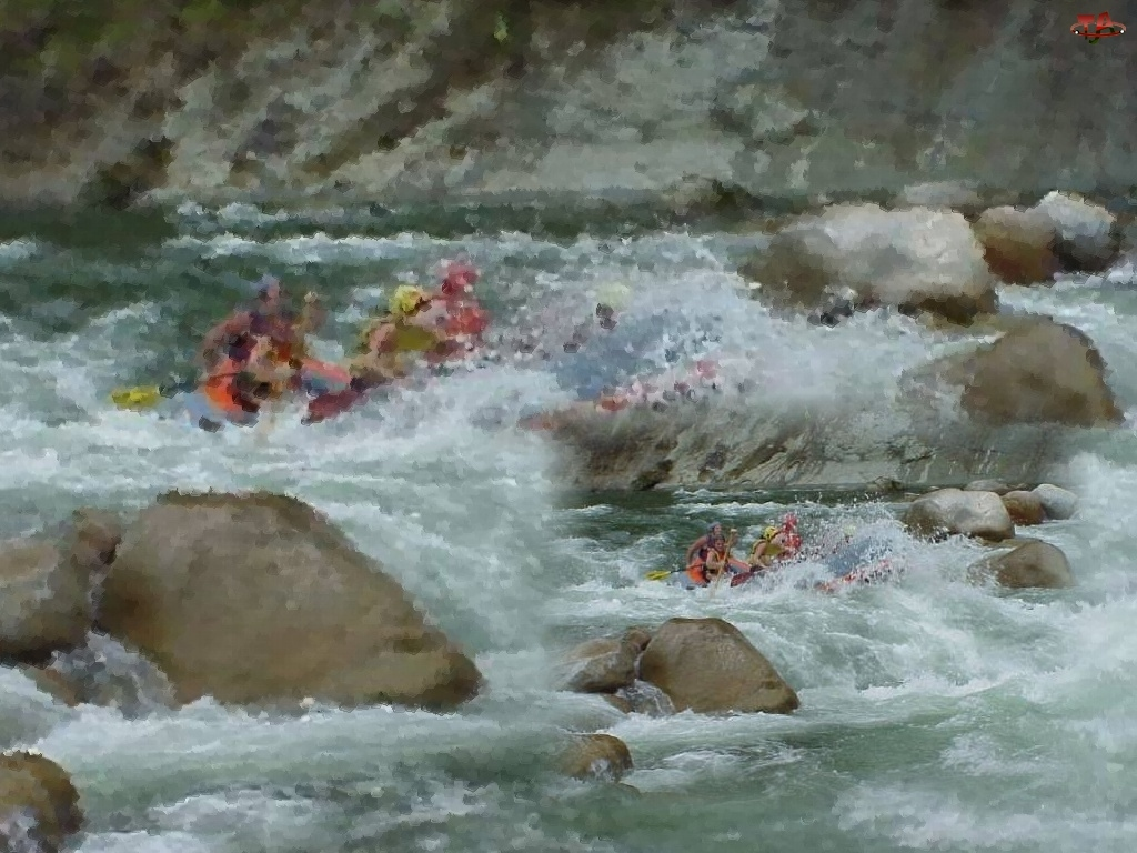 rzeka, skały, spływ, Rafting, wiosła