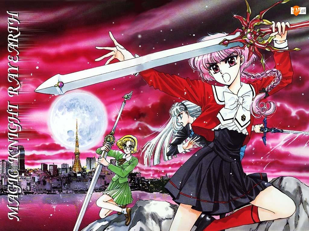 Magic Knight Rayearth, miecz, kobiety, księżyc
