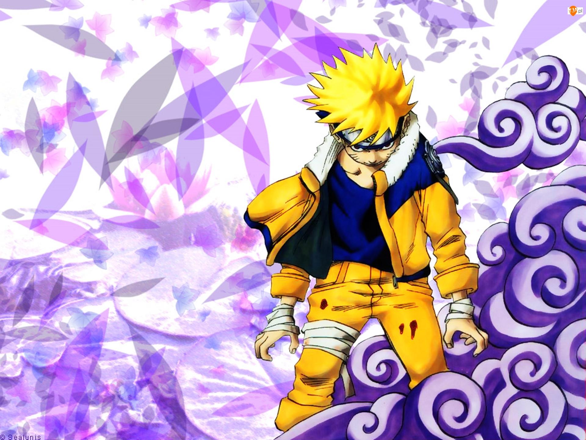 fioletowe tło, Naruto, żółty strój