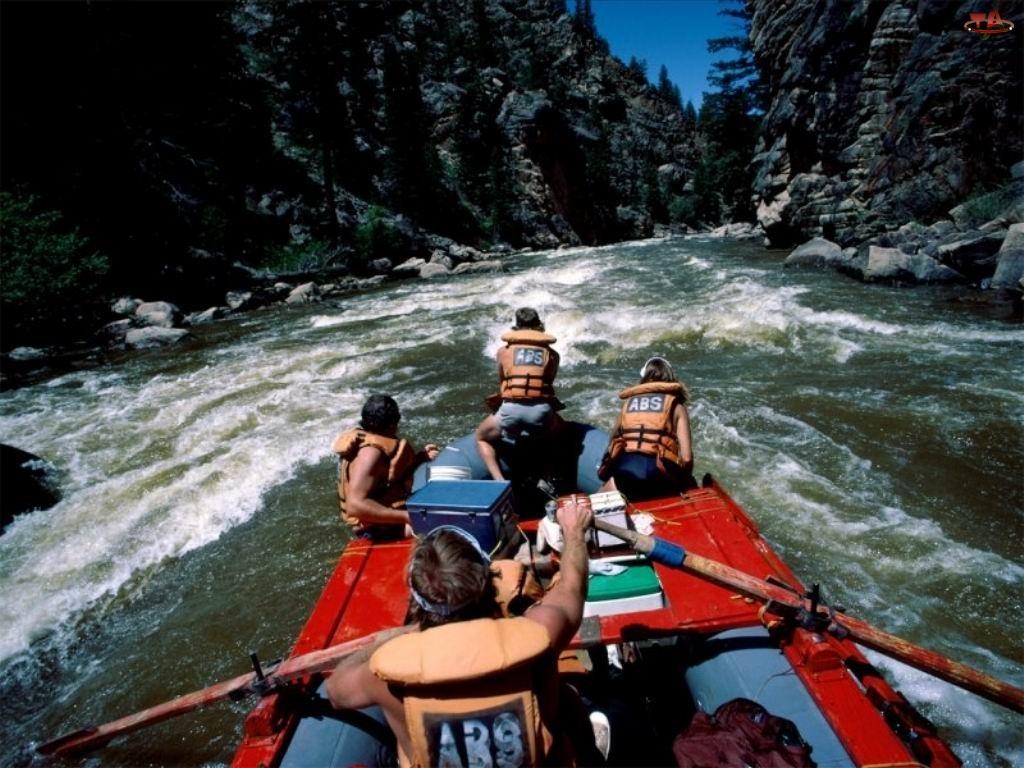 rzeka, ponton , Rafting, góry, spływ, wiosła