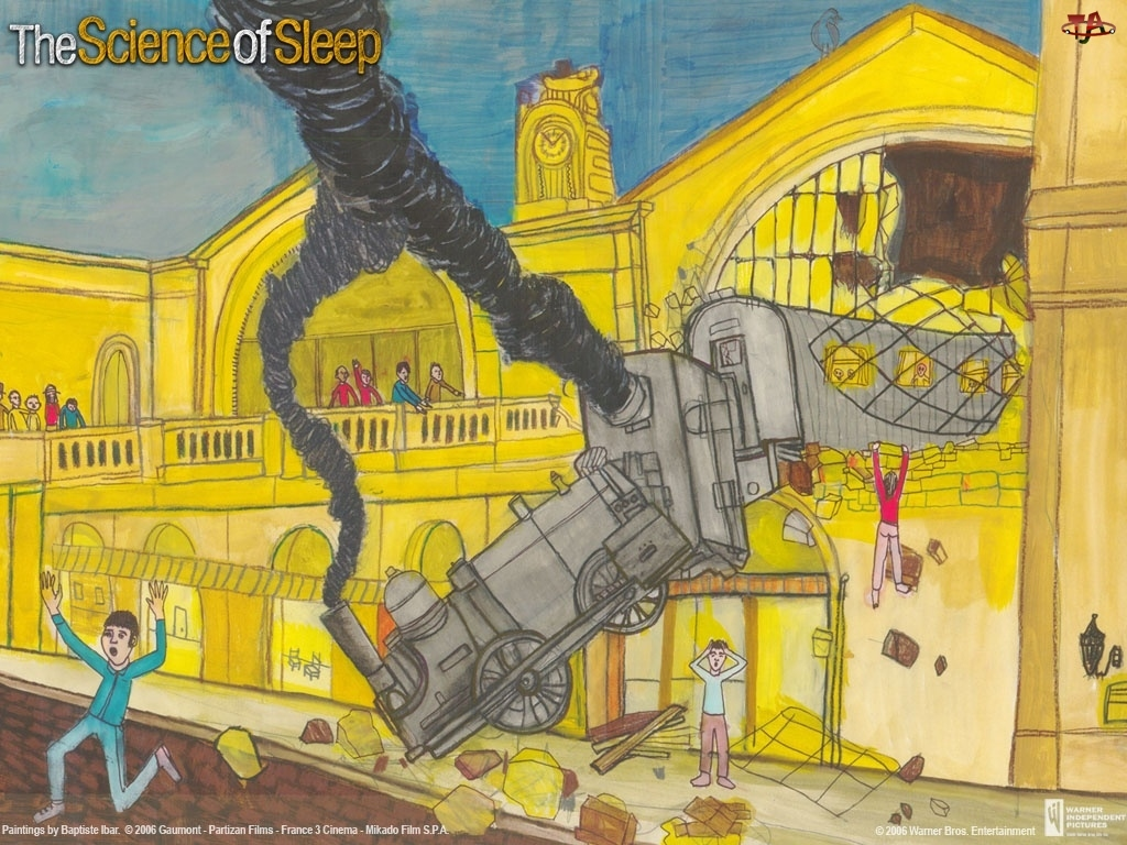 ludzie, budynek, pociąg, The Science Of Sleep, kraksa, dym, miasto
