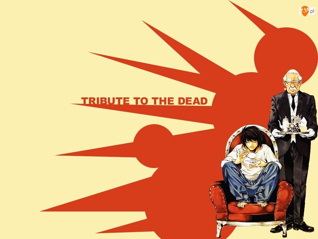stary, Death Note, tron, kelner, garnitur