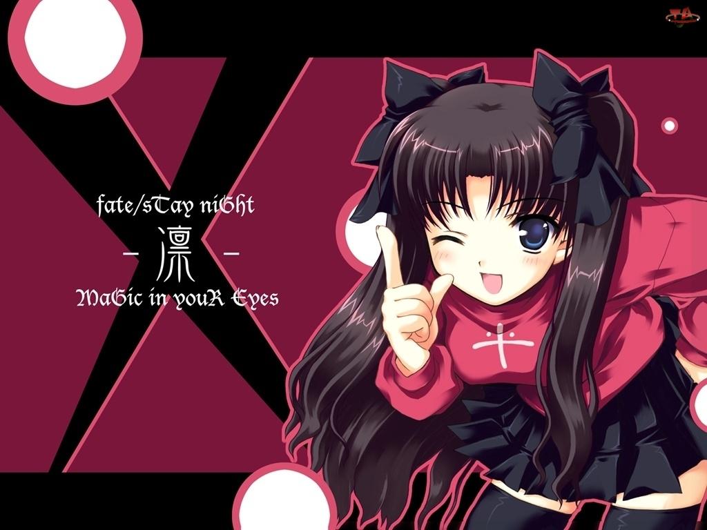 oczko, Fate Stay Night, dzieczyna, x, kokardki