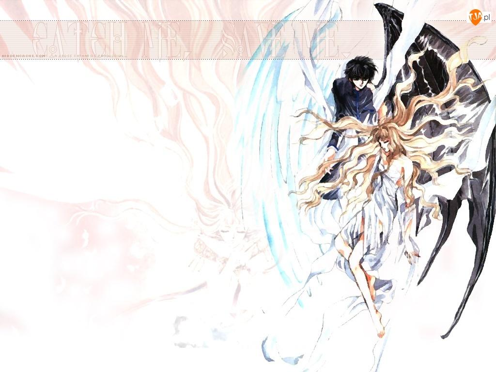 X, skrzydła, chłopak, dziewczyna