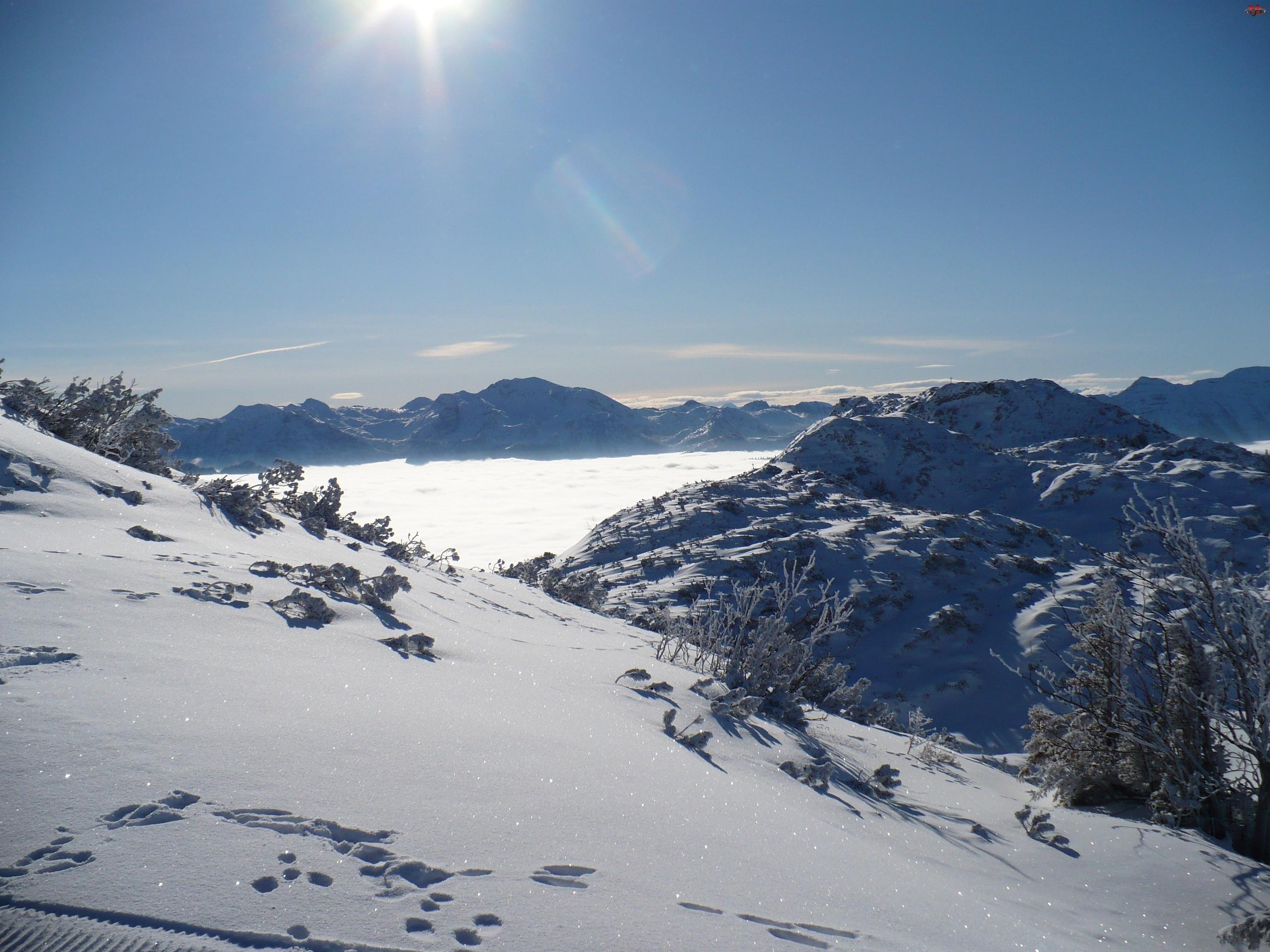 Góry, Na, Alpy, Śniegu, Zima, Ślady