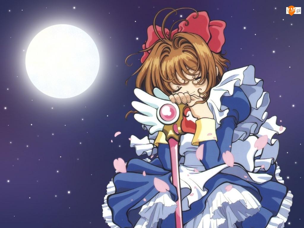 księżyc, Cardcaptor Sakura, dziewczya, sen, kij