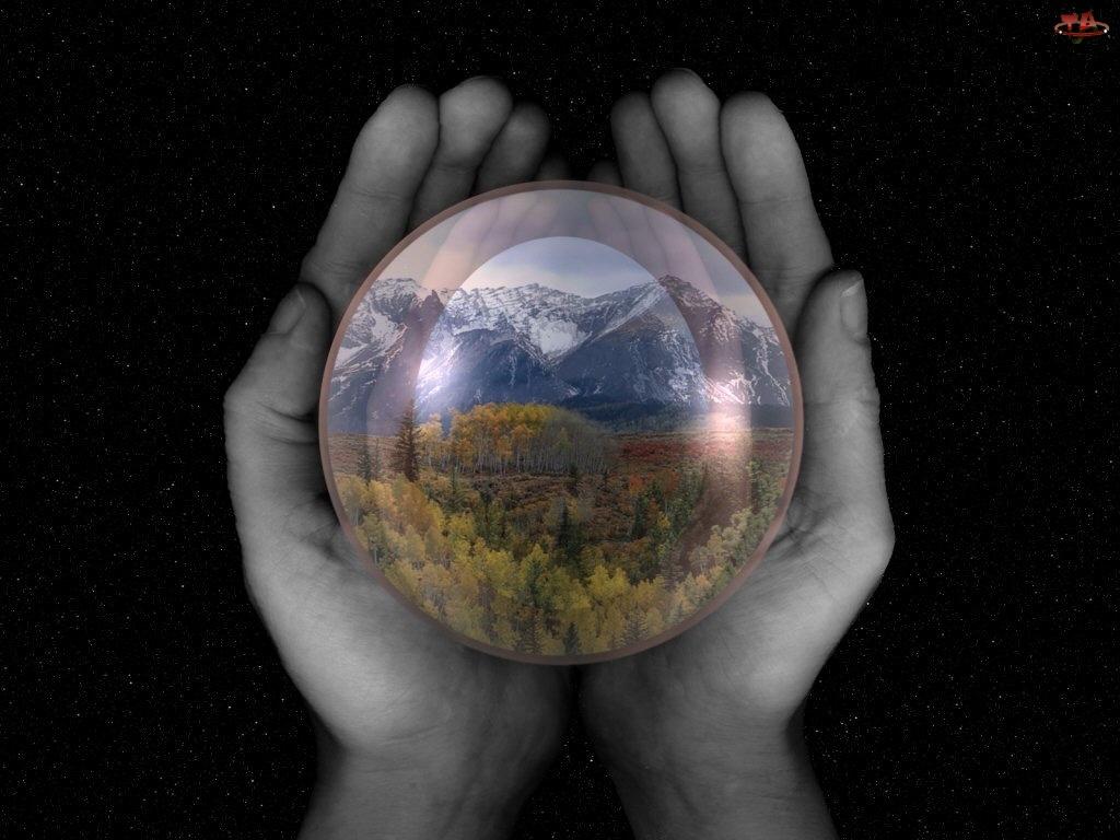 Szklana, Dłonie, Kula, Ziemia