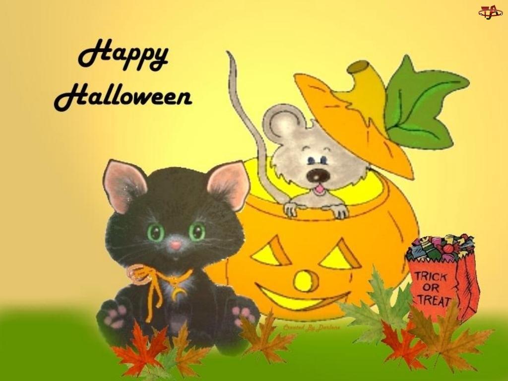 myszka, Halloween, dynia