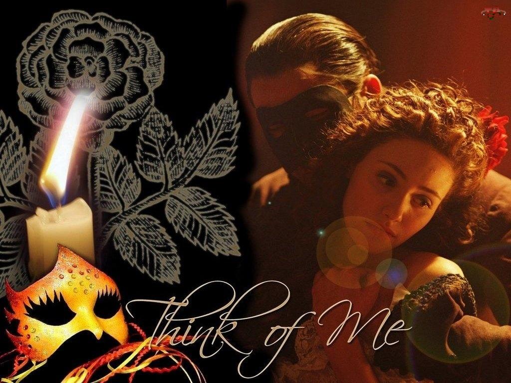 Gerard Butler, świeczka, Phantom Of The Opera, maska, Emmy Rossum, róża