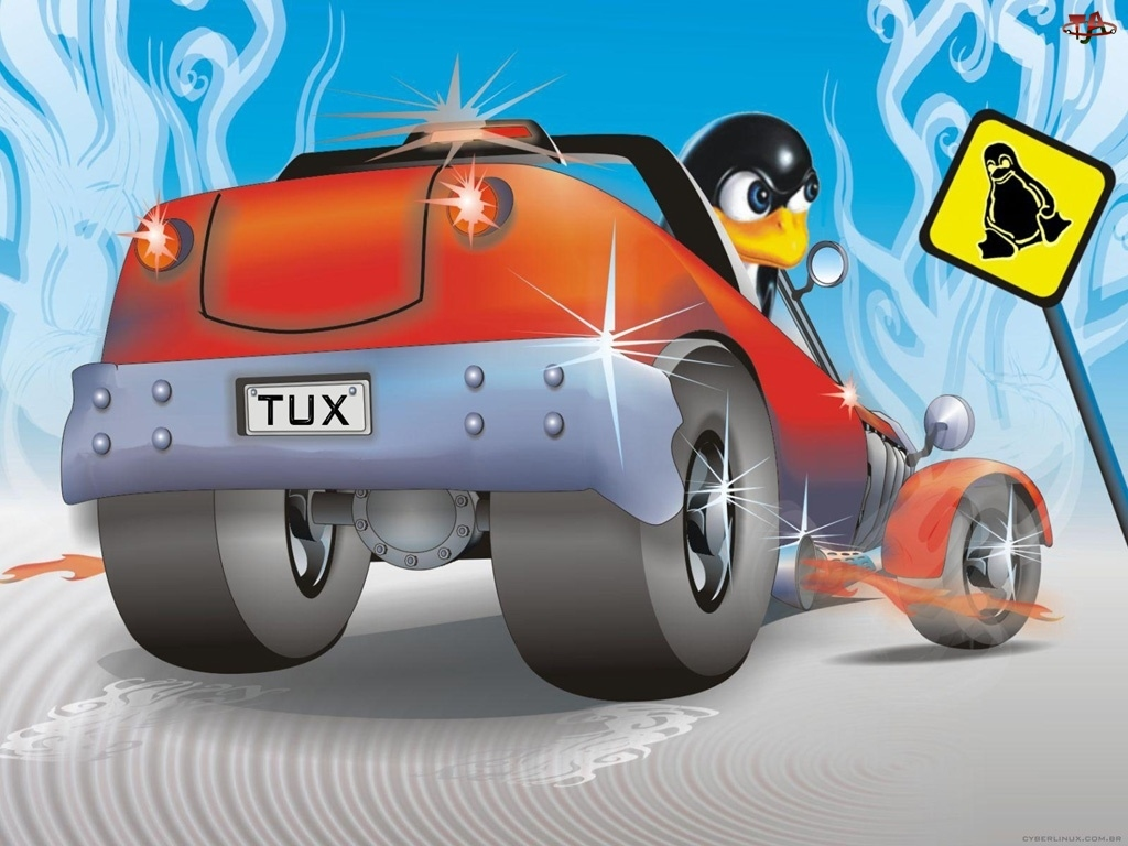 znak, Linux, Pigwinek, Pigwin, Samochód