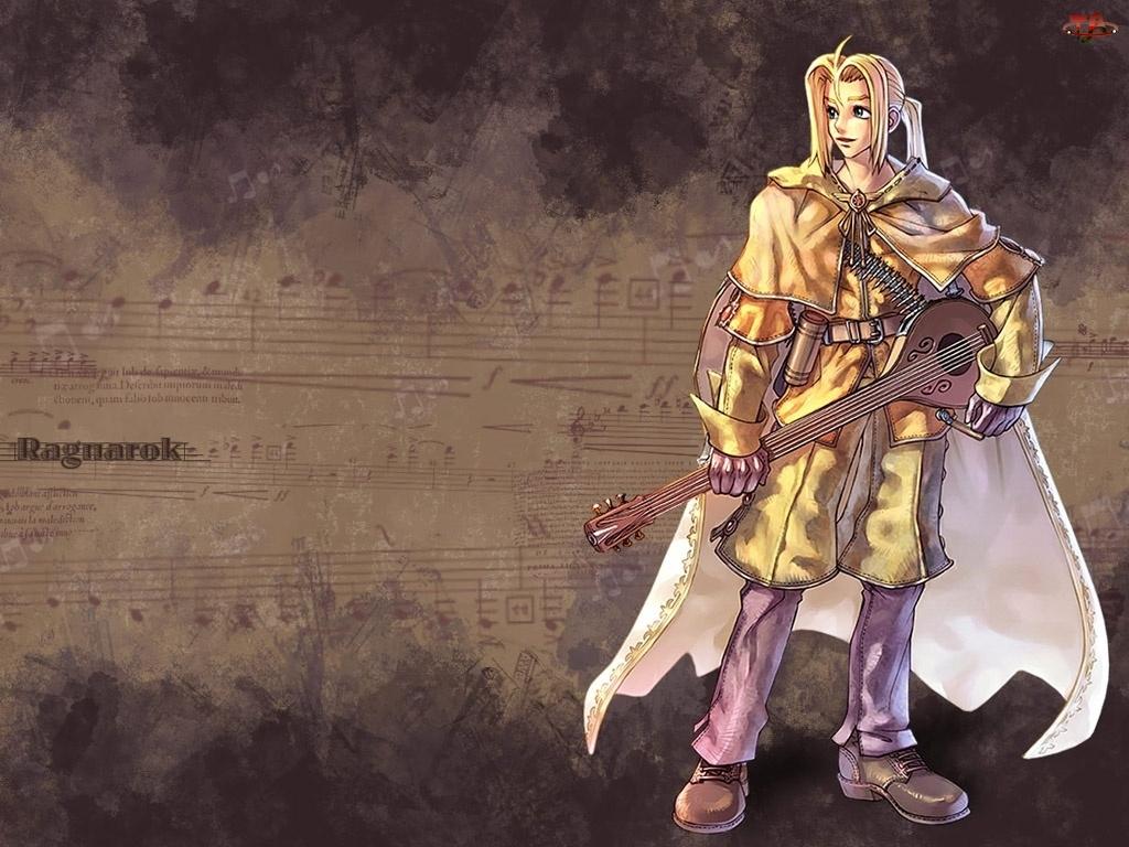 mężczyzna, nuty, postać, Ragnarok, mandolina