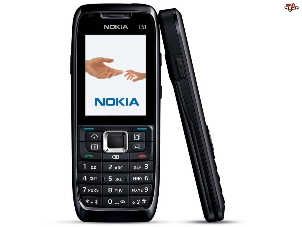 Nokia E51, Profil, Czarny, Przód