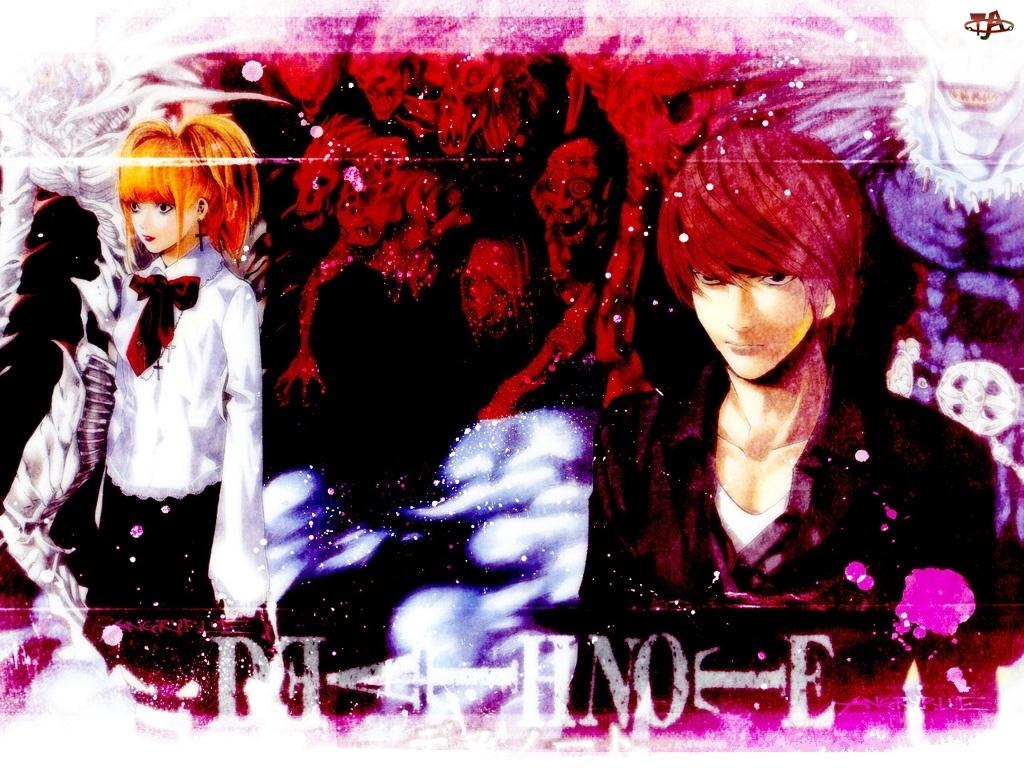 krzyż, dziewczyna, Death Note, czaszka, ruda, chłopak