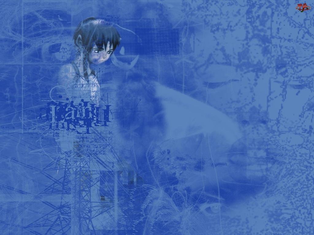 niebieskie tło, Serial Experiments Lain, twarz