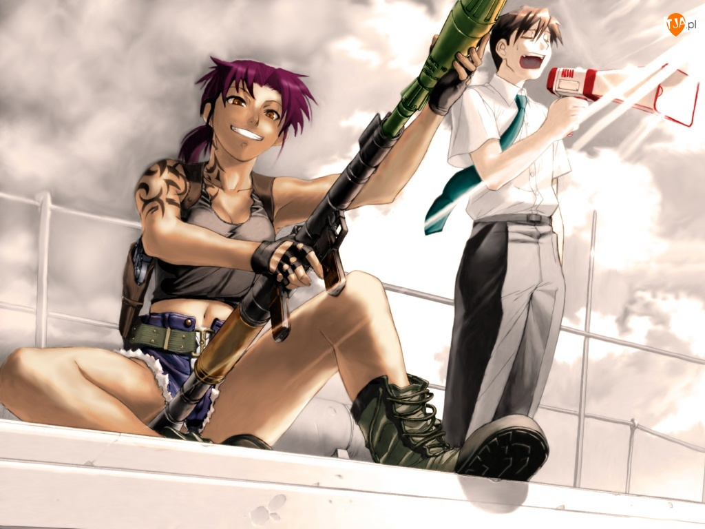 bazooka, kobieta, Black Lagoon, facet, ludzie, broń