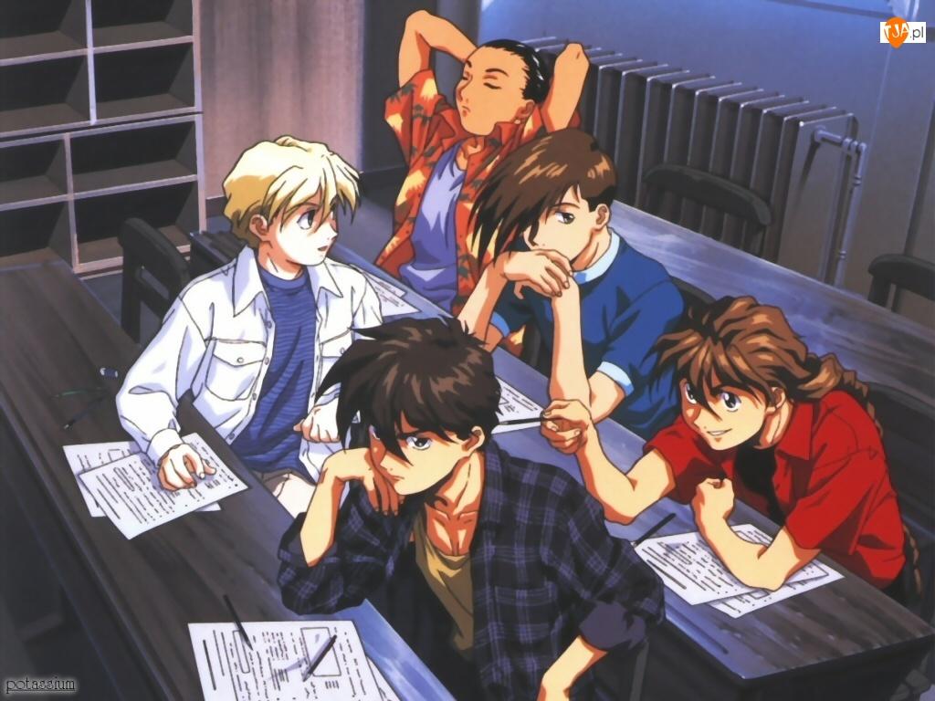 Gundam Wing, ludzie, szkoła, ławki