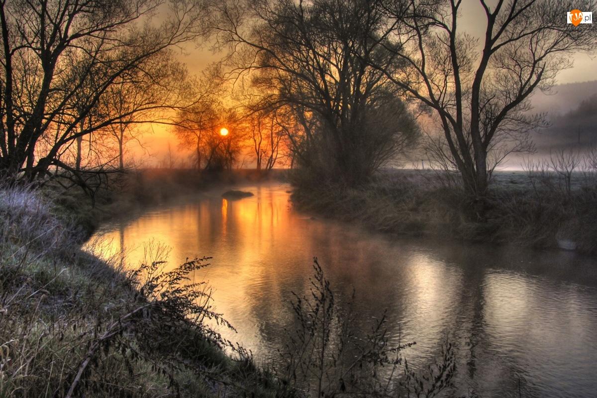 Słońca, Oszroniona, Rzeka, Trawa, Zachód
