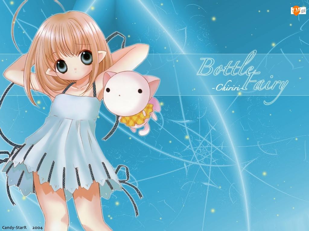 napis, Bottle Fairy, sukienka, dziewczyna, zwierzak