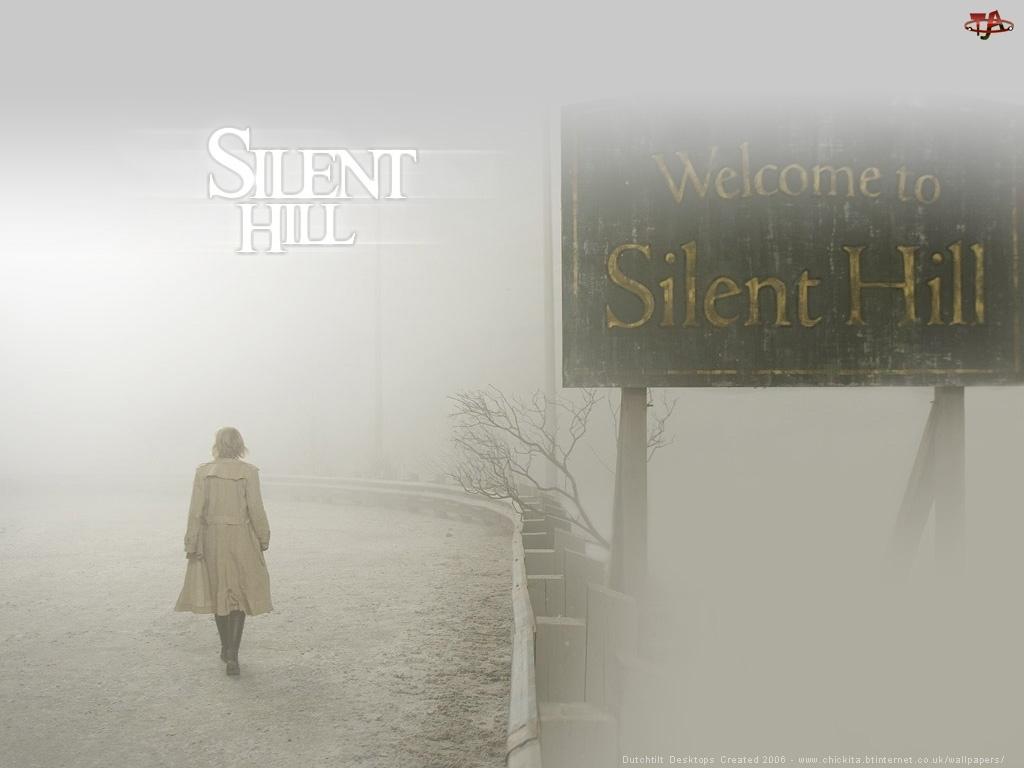 kobieta, Silent Hill, droga, mgła, szyld