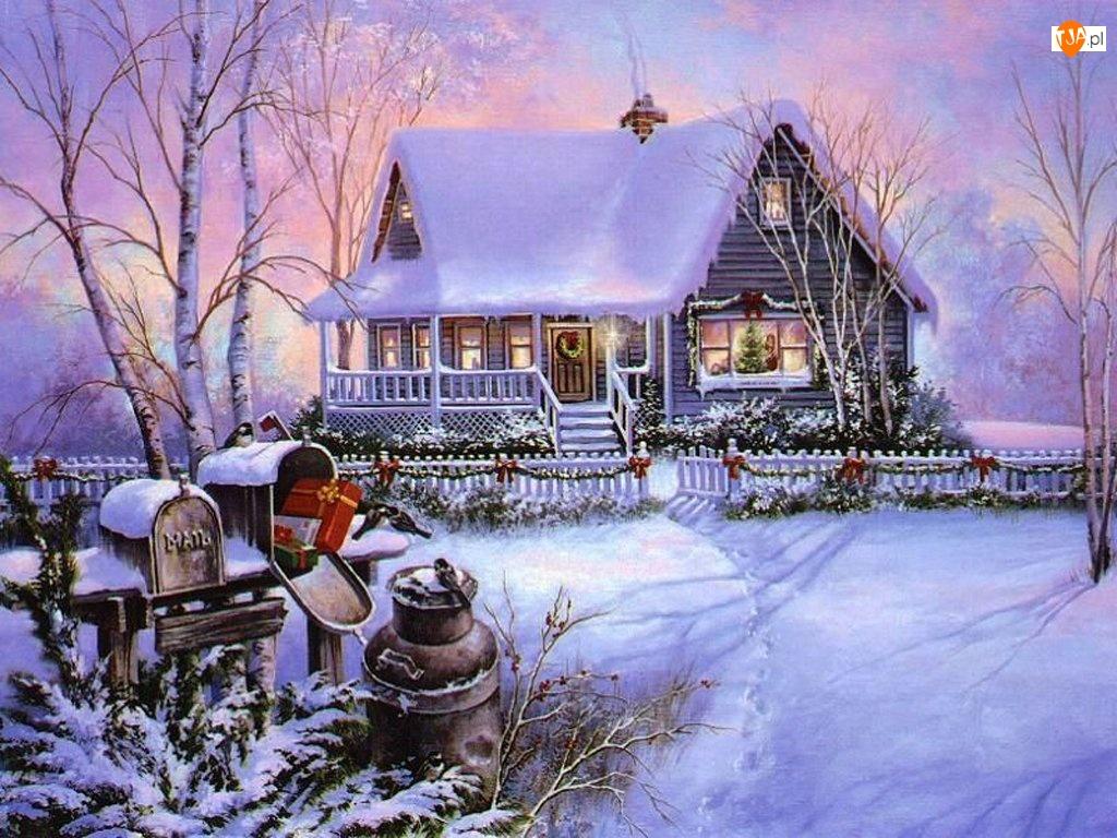 domek, Boże Narodzenie, Zima