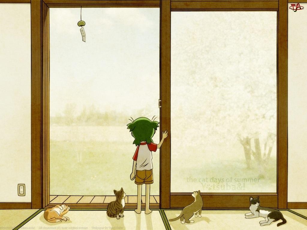 szklane, Yotsubato, drzwi, koty