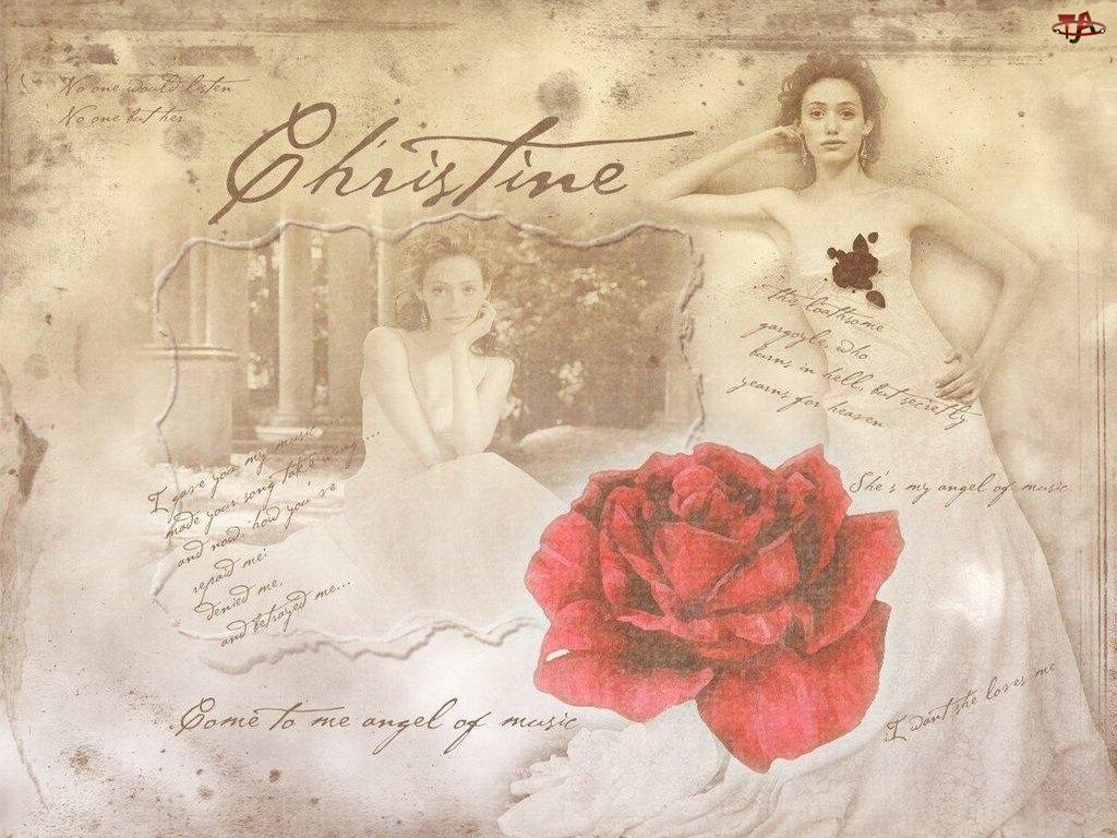 Phantom Of The Opera, suknia, Emmy Rossum, róża