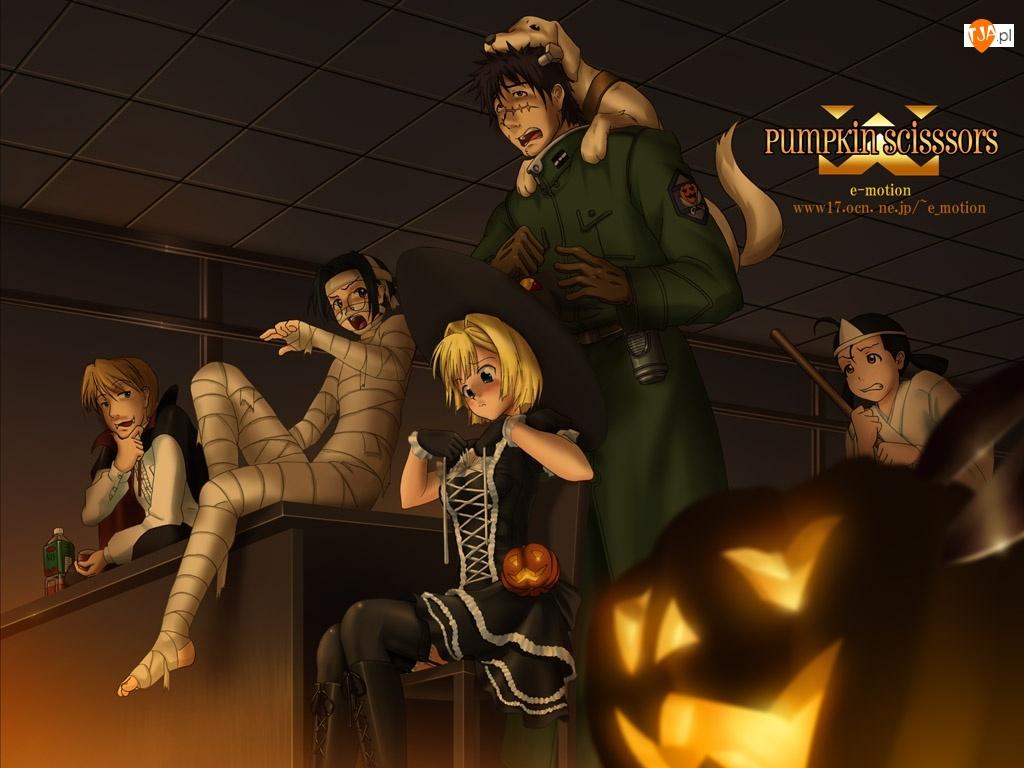Pumpkin Scissors, mumia, ludzie, pies
