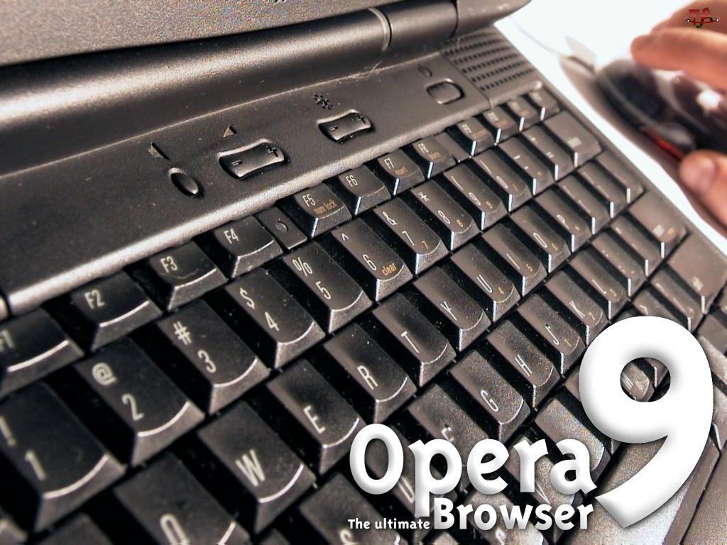 ręka, myszka, klawiatura, Opera, laptop, dłoń