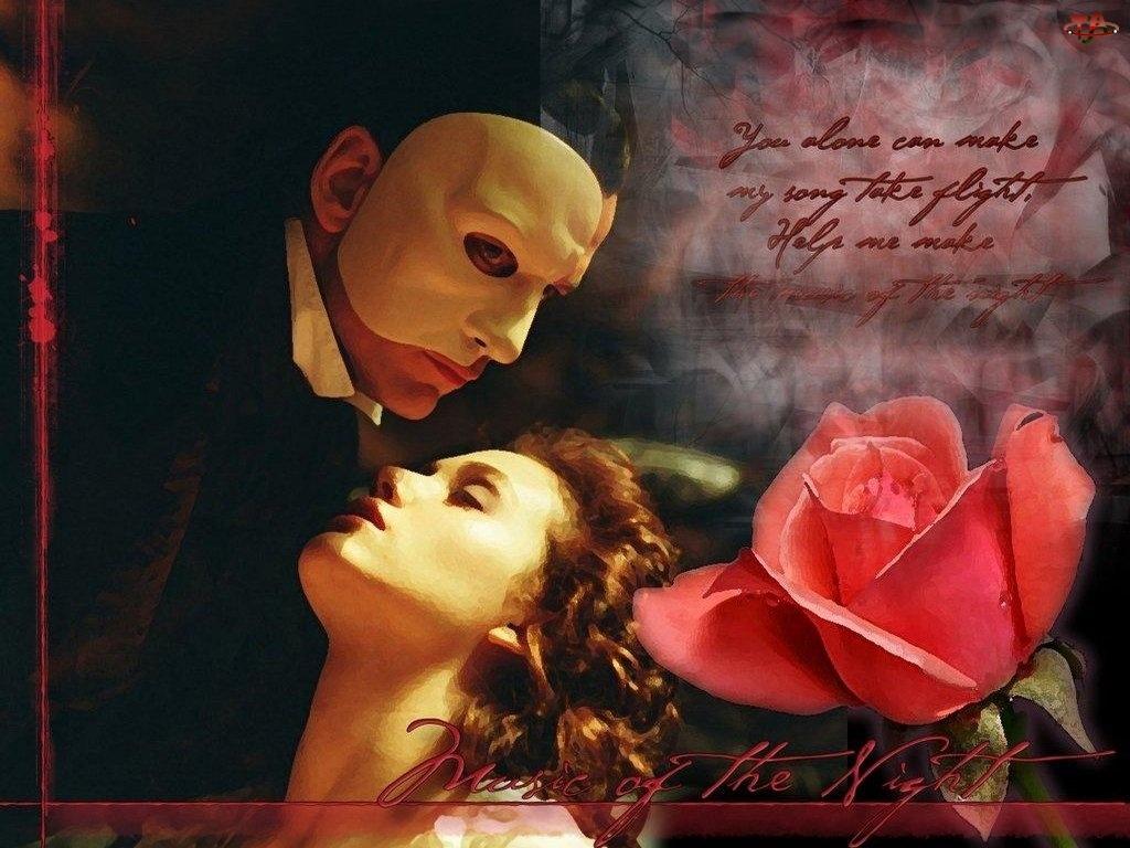 Gerard Butler, maska, róża, napis, Phantom Of The Opera, Emmy Rossum