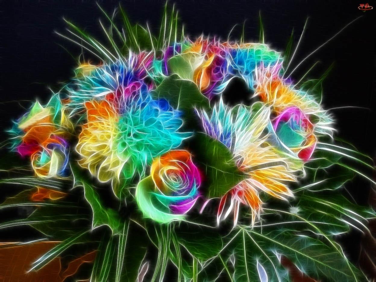 3D, Bukiet, Kwiatów