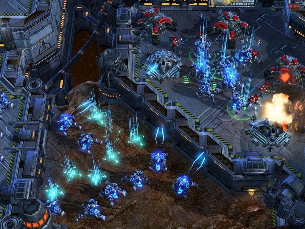 Starcraft 2, laser, miasto, roboty