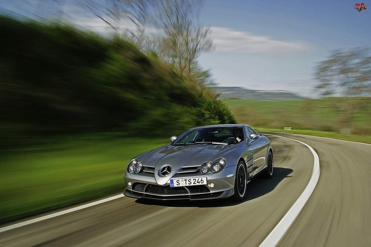 Krajobraz, Mercedes SLR, Droga