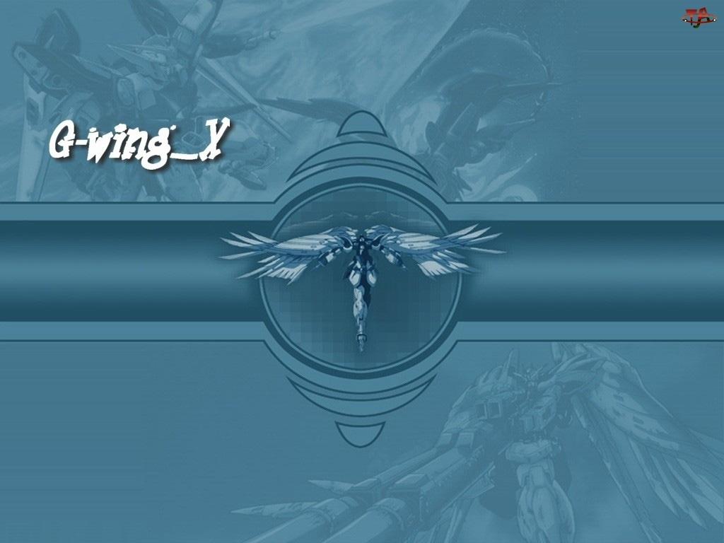 postać, Gundam Wing, napis, logo