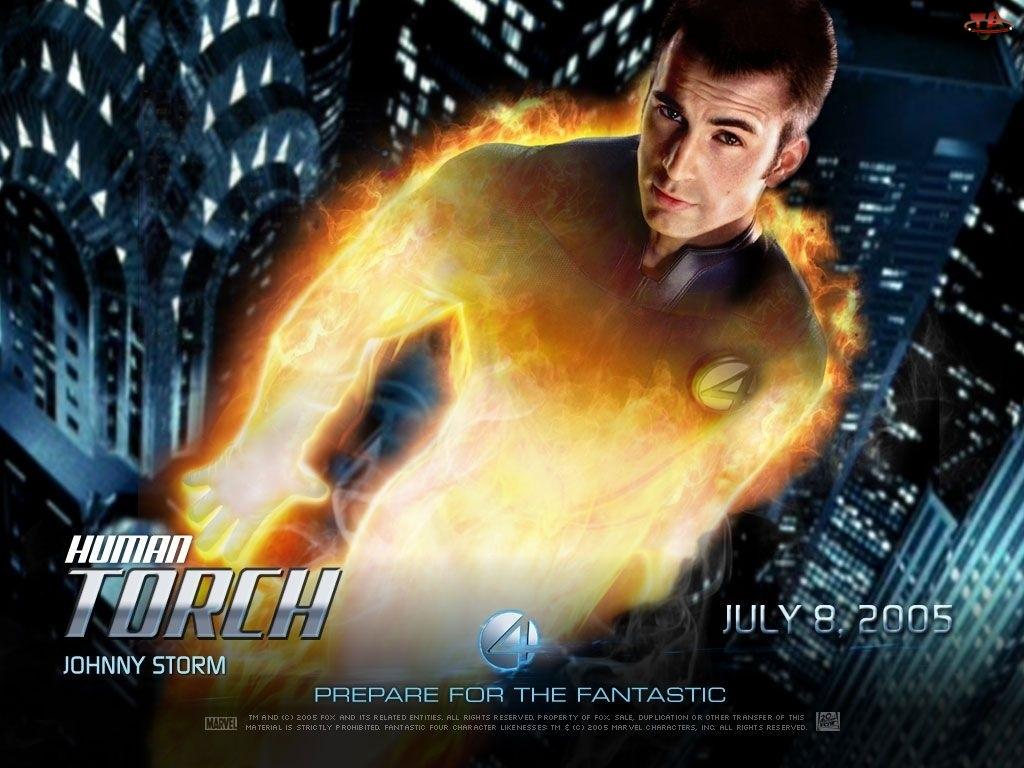 Fantastic Four 1, Chris Evans, płomienie, wieżowce