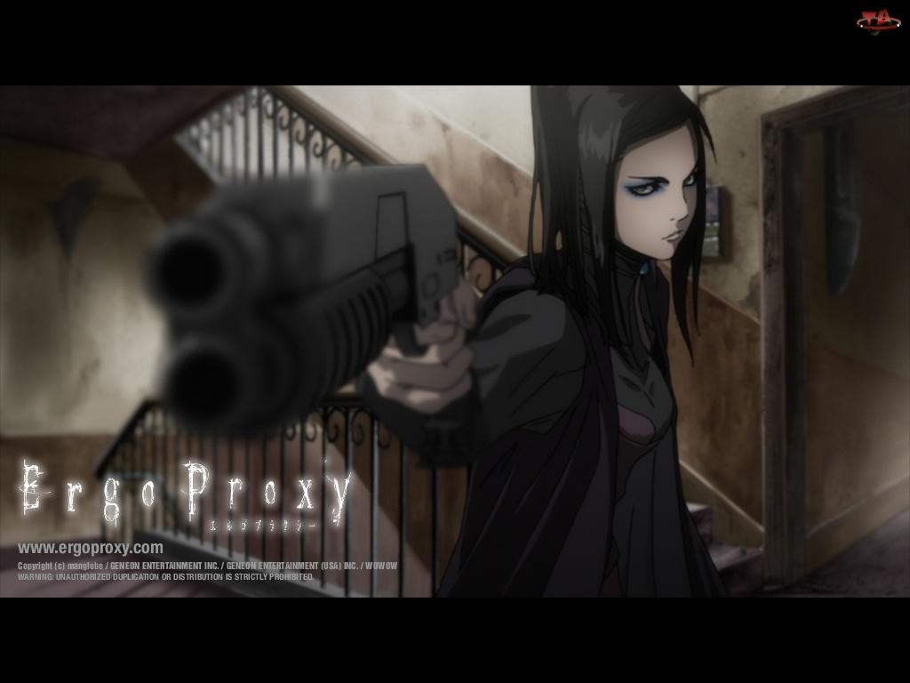 kobieta, Ergo Proxy, pistolet, schody, drzwi