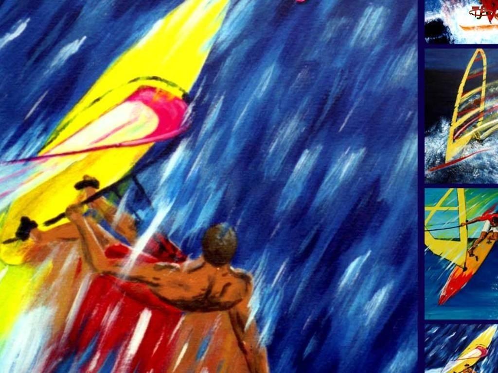 Windsurfing, fala, deska, żagiel