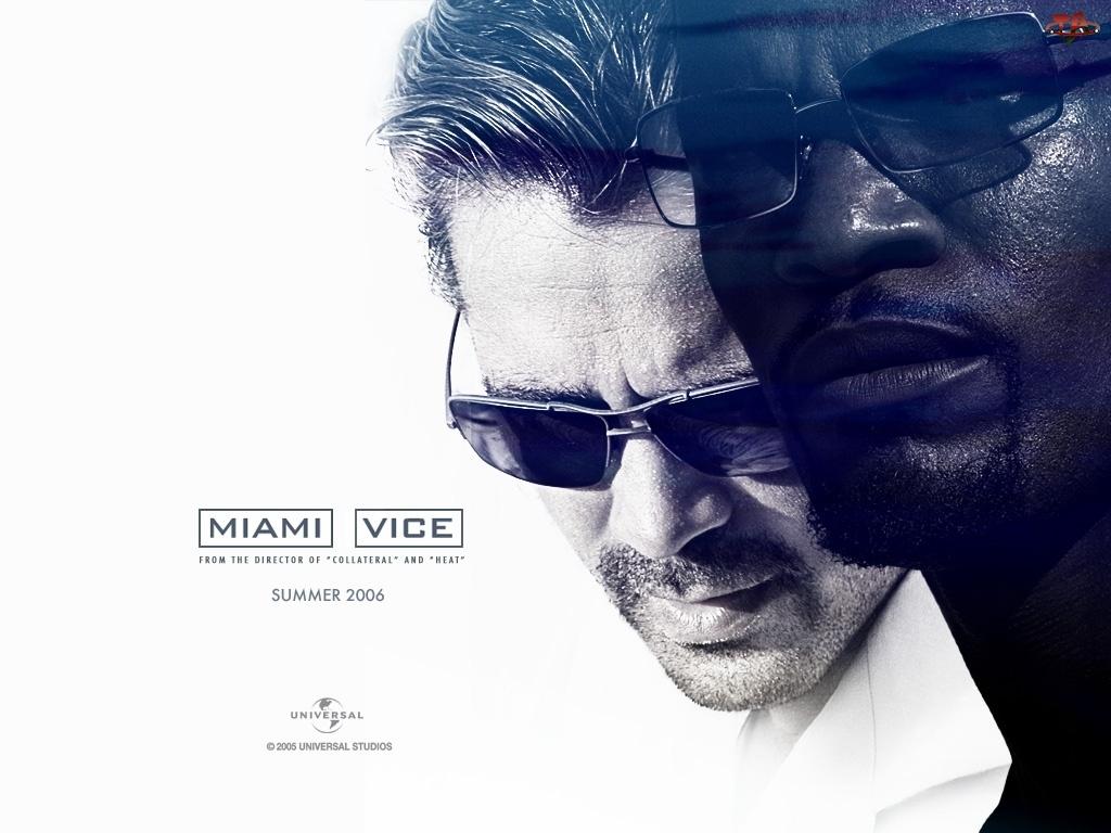 przeciwsłoneczne, Miami Vice, Colin Farrell, Jamie Foxx, okulary