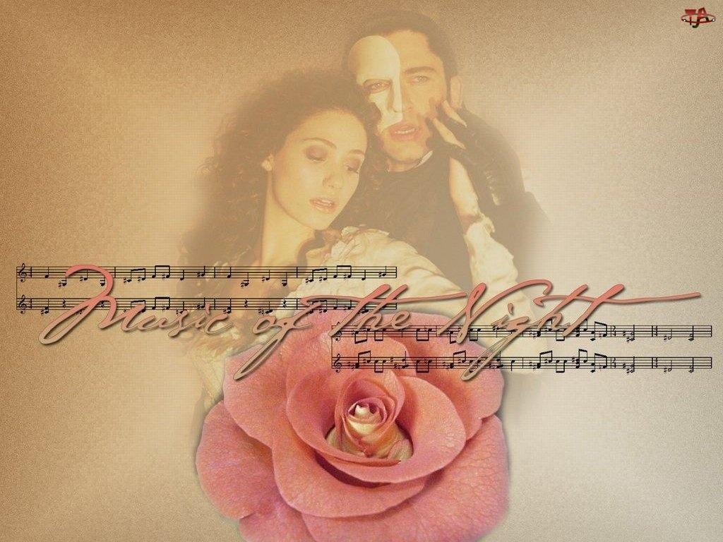 Phantom Of The Opera, róża, Gerard Butler, Emmy Rossum