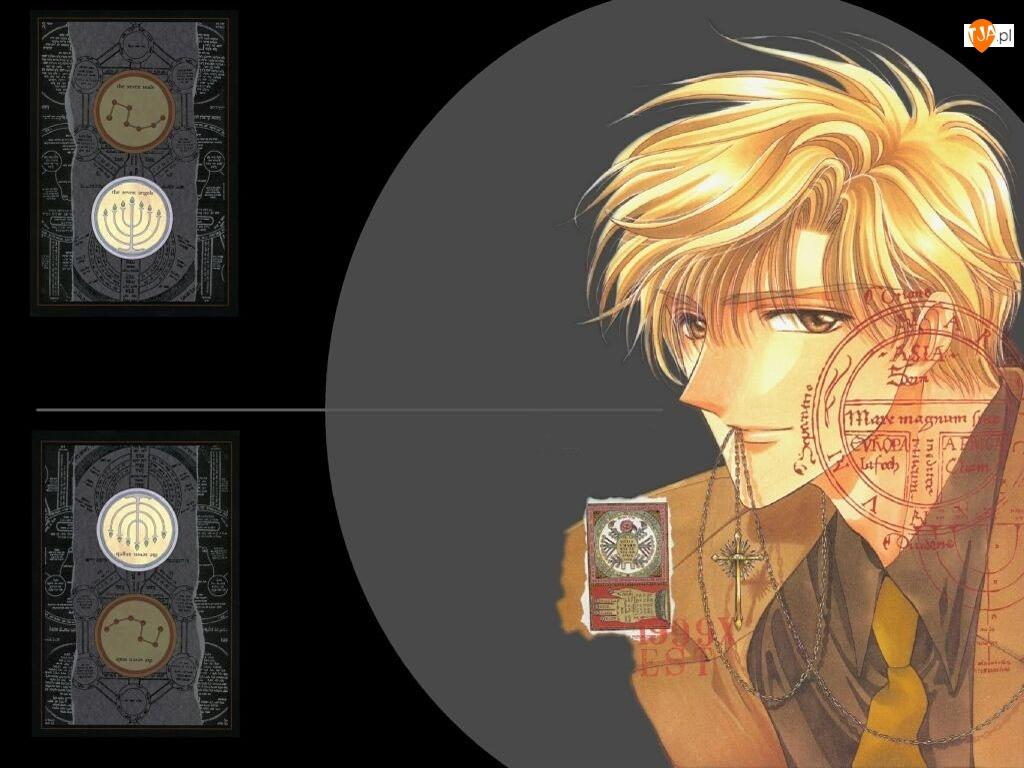 X, łańcuszek, blondyn, pieczęć