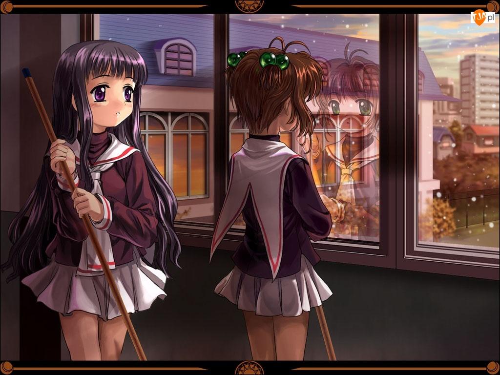 okno, Cardcaptor Sakura, miotły, dziewczyny, szyba