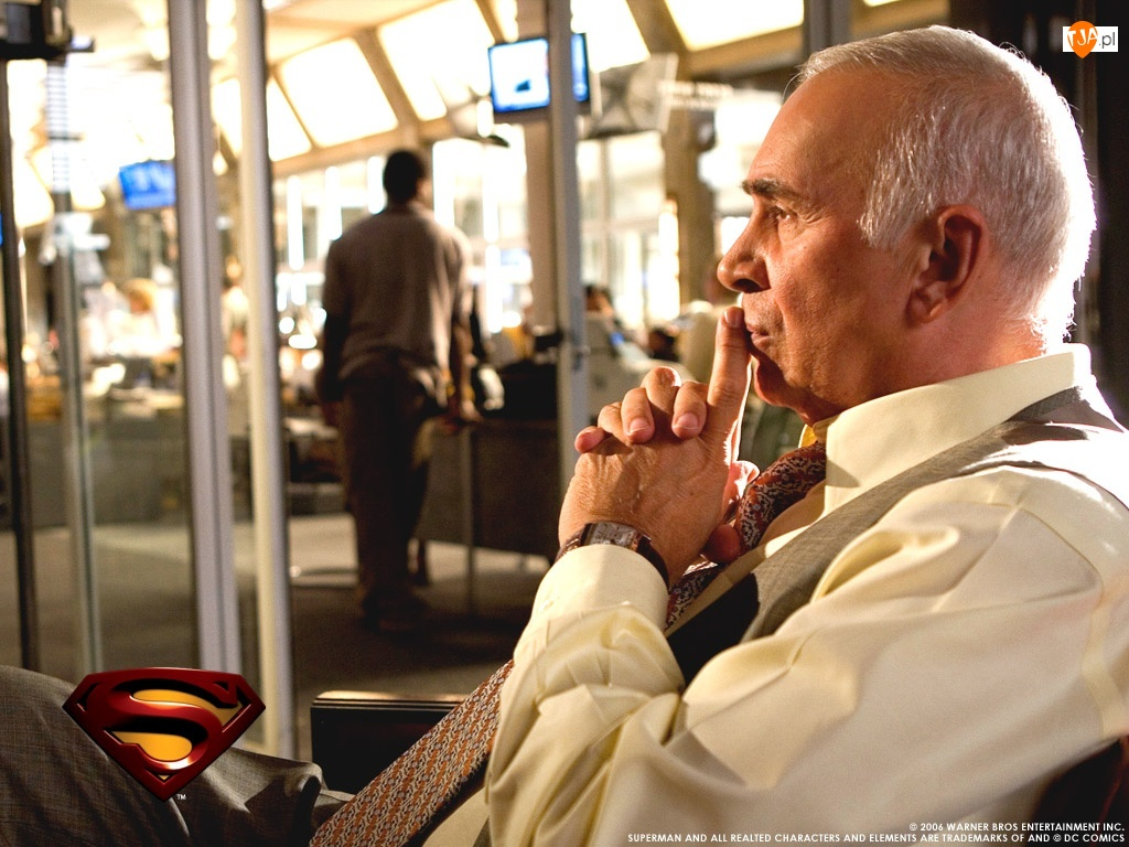 krawat, Superman Returns, siedzi, Frank Langella, myśli