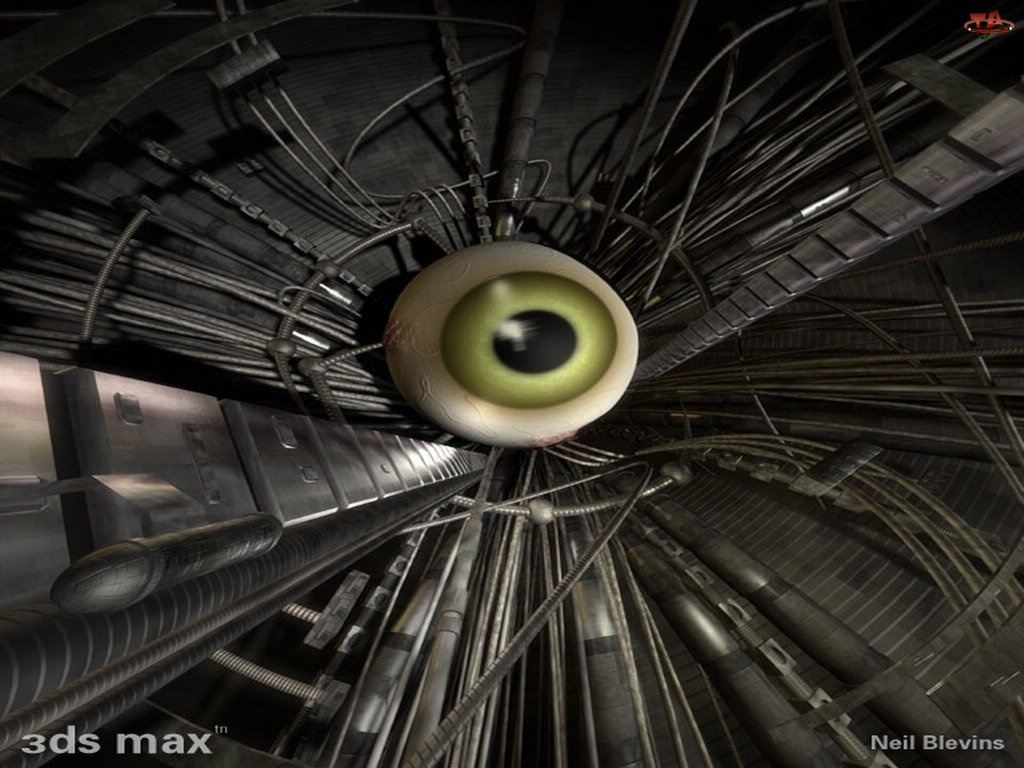 3D, oko, Wektorowa, zielone