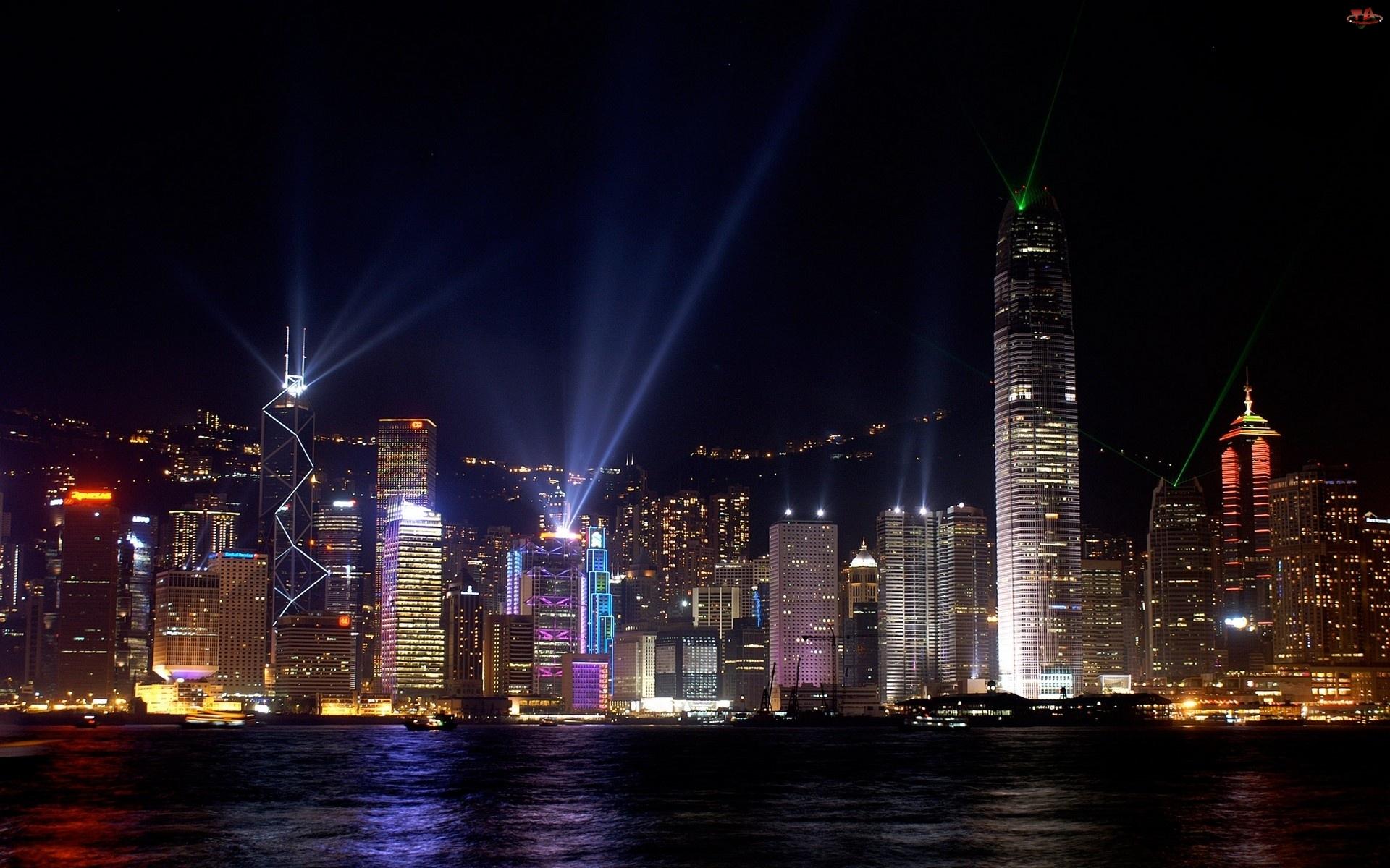 Oświetlony, Nocą, Nowy, Jork