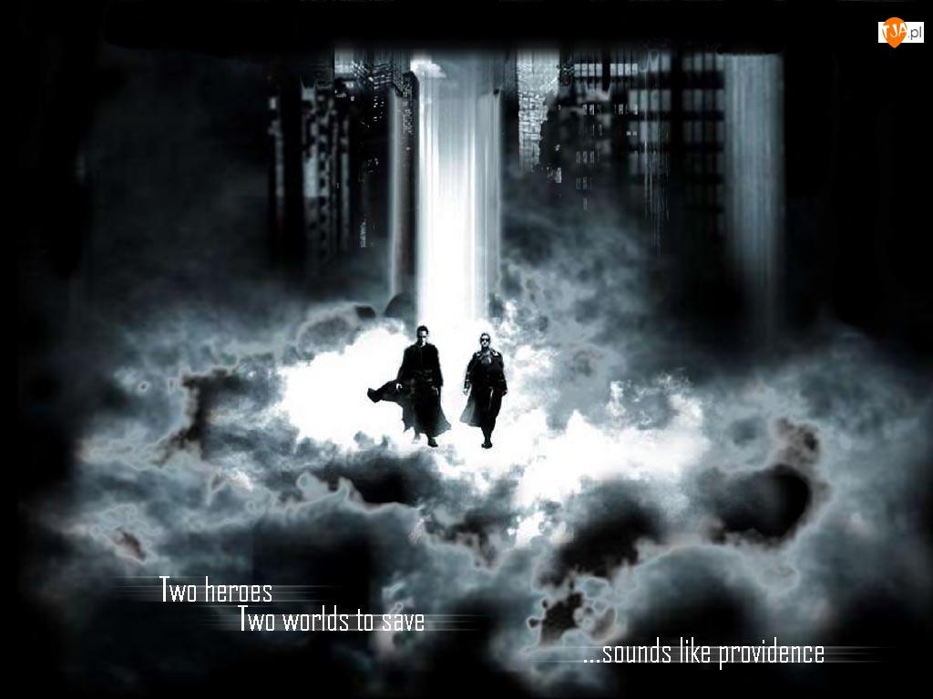 Matrix, światło, płaszcz, dym